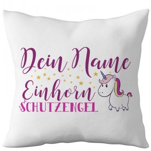 Kissen mit Spruch und Name 40 x 40 Einhorn Schutzengel